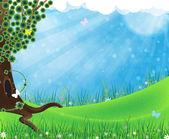 牧草地の緑の木 — ストックベクタ
