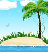 Small island with a palm tree — Stock Vector