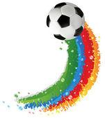 Voetbal bal en regenboog trail — Stockvector