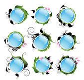 Set of bright vegetable aqua icons — Stock Vector