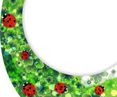 Spring background with transparent ladybirds — Vector de stock