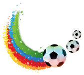 Soccer bals and rainbow trail — Stock Vector