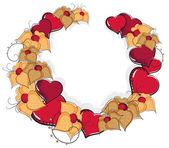 Flores y corazones dibujados a mano — Vector de stock