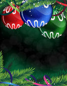 Colorful Christmas balls on a green background — Vector de stock