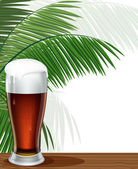 Glass of beer and palm branches — Stock Vector