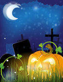 Jack o lantern on a cemetery — Stock Vector