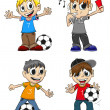 Soccer players and referee — Stock Vector