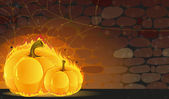 Dark dungeon and burning pumpkins — Stock Vector