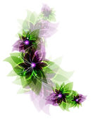 Green and purple romantic flowers — Stock Vector