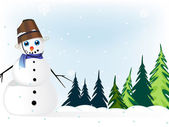 Snowman in a pine forest — Stockvector