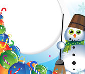 Snowman with a broom and Christmas tree decorations — Stock vektor