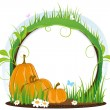 Pumpkins with leaves, flowers and butterflies — Stock Vector #32516057