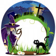 Witch and cat on a cemetery — Stock Vector
