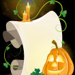 Smiling Jack o' Lantern, parchment and burning candles — Vector de stock #33473975