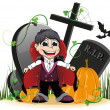 Vampire and pumpkins on the cemetery — Stock Vector