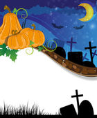 Halloween pumpkins on the cemetery — Stock Vector