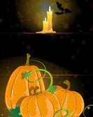 Pumpkins and burning candles — Stock Vector