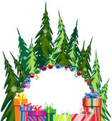 Pine forest and Christmas presents — Stock Vector