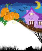 Pumpkins near the brick house — Stock Vector