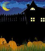 Pumpkins in a grass near the house — Stock Vector