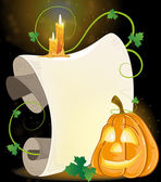 Smiling Jack o' Lantern, parchment and burning candles — Stock Vector