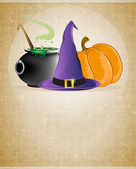 Witch hat, boiling cauldron and pumpkin — Stock Vector