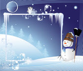 Snowman on a winter background — Stock Vector
