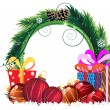 Stock Vector: Christmas wreath with baubles and gift boxes