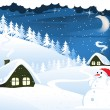 Houses and snowman — Stock Vector
