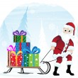 Santa Claus with sleigh — Stock Vector