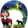 Vampire and black cat on a cemetery — Stock Vector