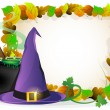 Stock Vector: Witch hat and cauldron on autumn leaves background