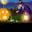 Wicked witch and Jack o Lantern — Stockvektor