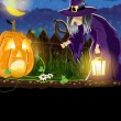 Wicked witch and Jack o Lantern — Imagen vectorial