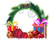 Christmas wreath with baubles and gift boxes — Stockvektor
