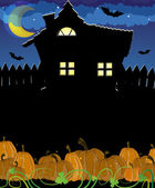 Pumpkins and haunted house — Stock Vector