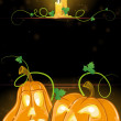 Stock Vector: Jack o' Lanterns and burning candles