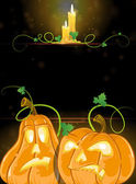 Jack o' Lanterns and burning candles — Stockvector