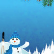 Snowman and spruce branches — Stock Vector