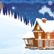 House with a snow-covered roof — Stock Vector