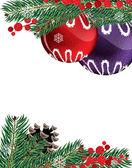 Christmas baubles with pine cone — Stockvektor
