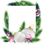 Christmas decorations and pine tree wreath — Vecteur