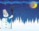 Smiling snowman — Stock Vector