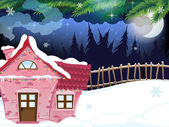 Snow covered forest house — Vector de stock