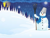 Snowman in the woods — Stock Vector