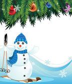 Schneemann auf ski — Stockvektor
