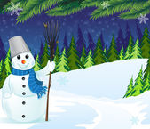 Snowman with a broom and bucket — Stock Vector