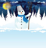 Snowman with a broom in the woods — Stock Vector