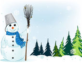 Smiling snowman with broom and bucket — Stock Vector