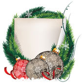 Pine Tree wreath with Christmas balls and sheet of paper — Stockvektor